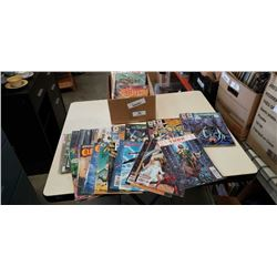 Box of bagged marvel and dc comics