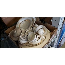 Box of english china and serving pieces