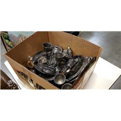 BOX OF ASSORTED SILVER PLATE SERVING PIECES, ETC