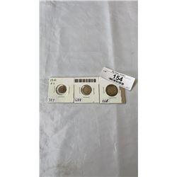 3 1910 CANADIAN COINS - 5 CENT, 10 CENT, 25 CENT