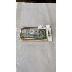 3 CANADIAN BILLS - 1954  5 DOLLAR, 1974  2 DOLLAR, AND 1973  1 DOLLAR