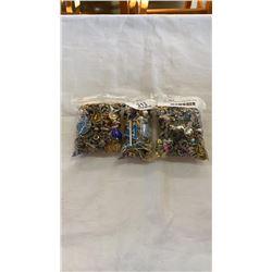 3 BAGS OF VARIOUS JEWLLERY - PINS, EARRINGS, PENDANTS, ETC