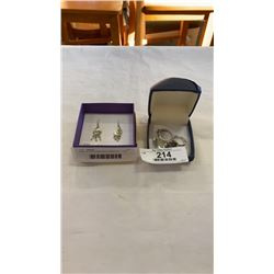 PAIR OF 925 STERLING EARRINGS, 2  925 RINGS, AND 925 NECKLACE