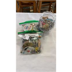 2 BAGS OF PINS AND JAR OF BROOCHES
