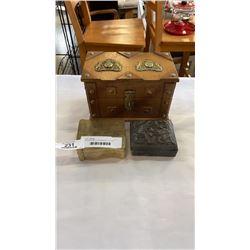 EASTERN METAL DRESSER BOX, WOOD JEWELRY BOX AND  METAL DRESSER BOX