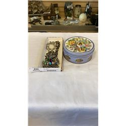 TRAY AND TIN OF VARIOUS SILVER TONE JEWELLERY