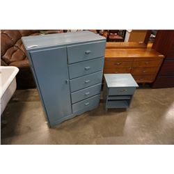 BLUE PAINTED 5 DRAWER WARDROBE AND NIGHTSTAND