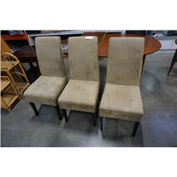 3 MICROFIBER DINING CHAIRS