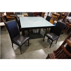 MODERN GLASSTOP TABLE AND 5 CHAIRS - 55 INCH BY 55 INCH