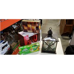 DECORATIVE LANTERN,SWIFFER SWEEPER AND CANNISTER SET