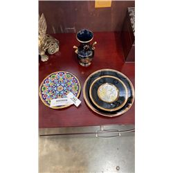 2 CHOKIN PLATES, MADE IN GREECE VASE, AND SPANISH PLATE