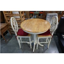 Bar height table and 2 designer bar chairs