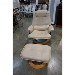 WHITE LEATHER RECLINING CHAIR AND OTTOMAN