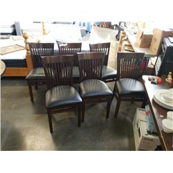 SET OF 6 DARK STAINED SOLID MAPLE CHAIRS WITH LEATHER SEATS