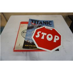 1971 ESKIMO PRINT CALENDER, TITANIC TIN SIGN, STOP SIGN