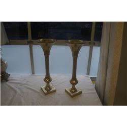 2 BRASS COLOURED VASES 24 INCHES