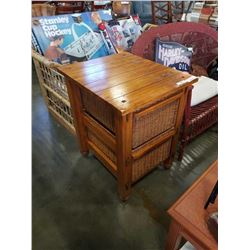 RUSTIC 2 DRAWER ENDTABLE WITH WICKER DRAWERS