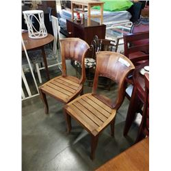 PAIR OF SOLID WOOD CURVED BACK CHAIRS