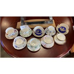 9 CHINA CUPS AND SAUCERS WEDGEWOOD, AYNSLEY, ROYAL ALBERT AND OTHER