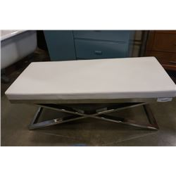 WHITE LEATHER AND CHROME BENCH