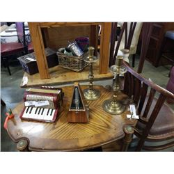 candlestands Metronome, miniature accordian and brass candlestands