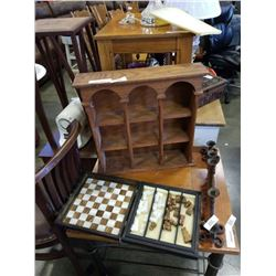 STONE CHESS SET AND BOARD AND SMALL OAK SHELF