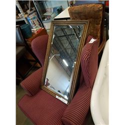 Framed bevelled glass mirror