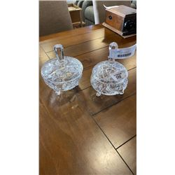 2 FOOTED CRYSTAL BOWLS