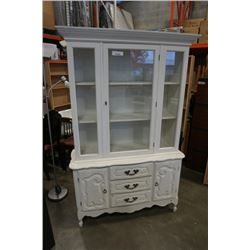 PAINTED WHITE SINGLE PIECE DISPLAY CABINET