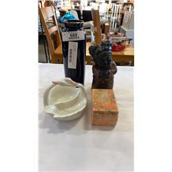 Cast iron figure, fitz and floyd ashtray, eastern vase and hand carved stone box