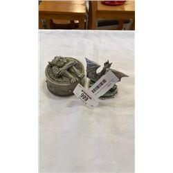 PEWTER DRAGON SCULPTURE AND GARGOYLE TRINKET BOX