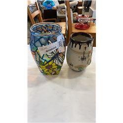 POTTERY VASE AND ART GLASS VASE