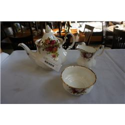 ROYAL ALBERT OLD COUTRY ROSE TEAPOT AND CELEBRATION CREAM AND SUGAR