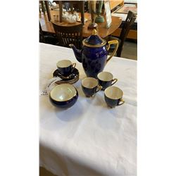 CARLTON WARE TEAPOT, SUGAR AND 4 CUPS AND SAUCERS