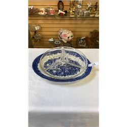 FENTON FLOW BLUE PLATTER AND GLASS SERVING DISH
