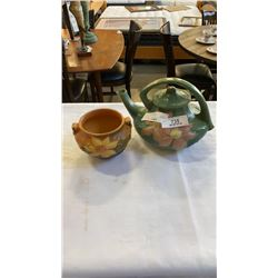 Roseville american pottery teapot and bowl