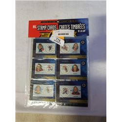 SET OF 6 NHL SERIES I STAMP CARDS WAYNE GRETZK,Y GORDIE HOWE,ROCKET RICHARD, DOUG HARVEY, BOBBY ORR,