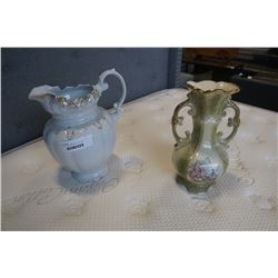 LARGE ALFRED MEAKING PITCHER AND STAFFORDSHIRE VASE