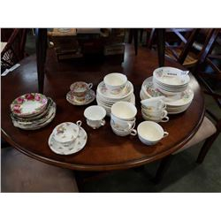 37 PIECES MADE IN CANADA SOVEREIGN POTTERIES EARTHENWARE AND CHINA SAUCERS AND CUPS