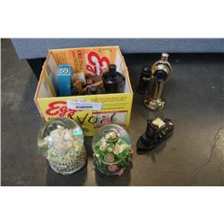 BOX OF ESTATE AVON COLLECTABLES AND 2 SNOWGLOBES