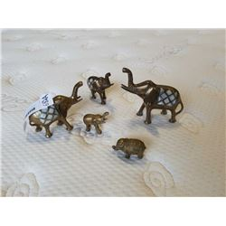 5 SOLID BRASS ELEPHANTS - 3 WITH MOTHER OF PEARL