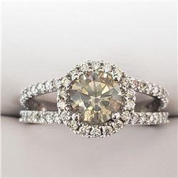 14K White Gold Diamond(J-K, SI-I, 1.10ct) Diamond(G-H, VS-SI, 0.75ct) Ring (~Size 7)(Ring is resizab