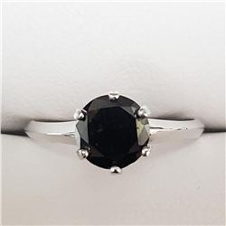 14K White Gold Black Diamond(1.4ct) Ring (~Size 5.7)(Ring is resizable for $40) (~weight 2g), Insura