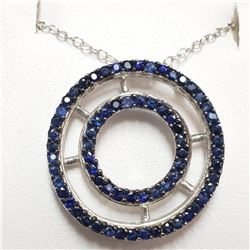 Silver Rhodium Plated Sapphire(1.5ct) Necklace (~weight 3.4g), Suggested Retail Value $160