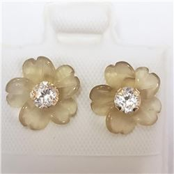10K Yellow Gold White Topaz(0.6ct) Earrings, Suggested Retail Value $100