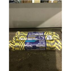 """Ben-Mor 1/4"""" x 50' High Visibility Braided Rope Reflective Polypropylene Lot of 3"""