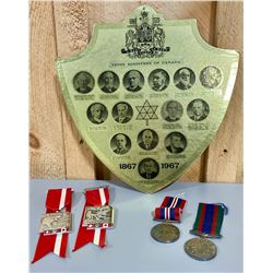 LOT OF 5 - CENTENNIAL PRIME MINISTERS DISPLAY & MEDALS