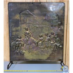 APPROX 2' SQUARE ANTIQUE BRASS FIREPLACE SCREEN