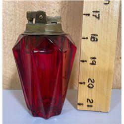 VINTAGE RUBY GLASS CIGARETTE LIGHTER