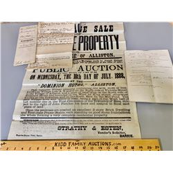 1888 ALLISTON AUCTION POSTER & BILL OF SALE FOR THE DOMINION HOTEL